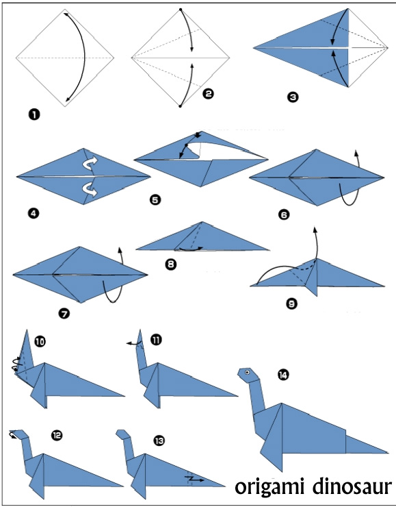 Как сделать динозавры оригами