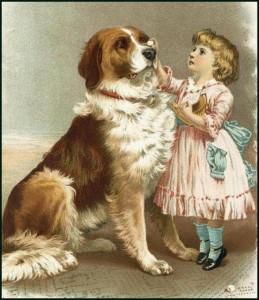 Вышитая картина крестом девочки с собакой