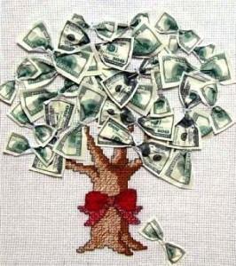 Вышитое денежное дерево символ богатства