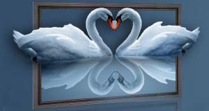 Лебединая пара вышитая крестом