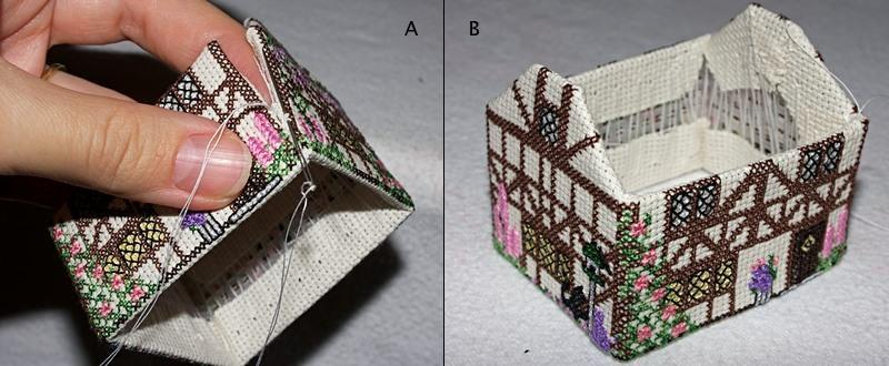 Объемная вышивка крестом домиков