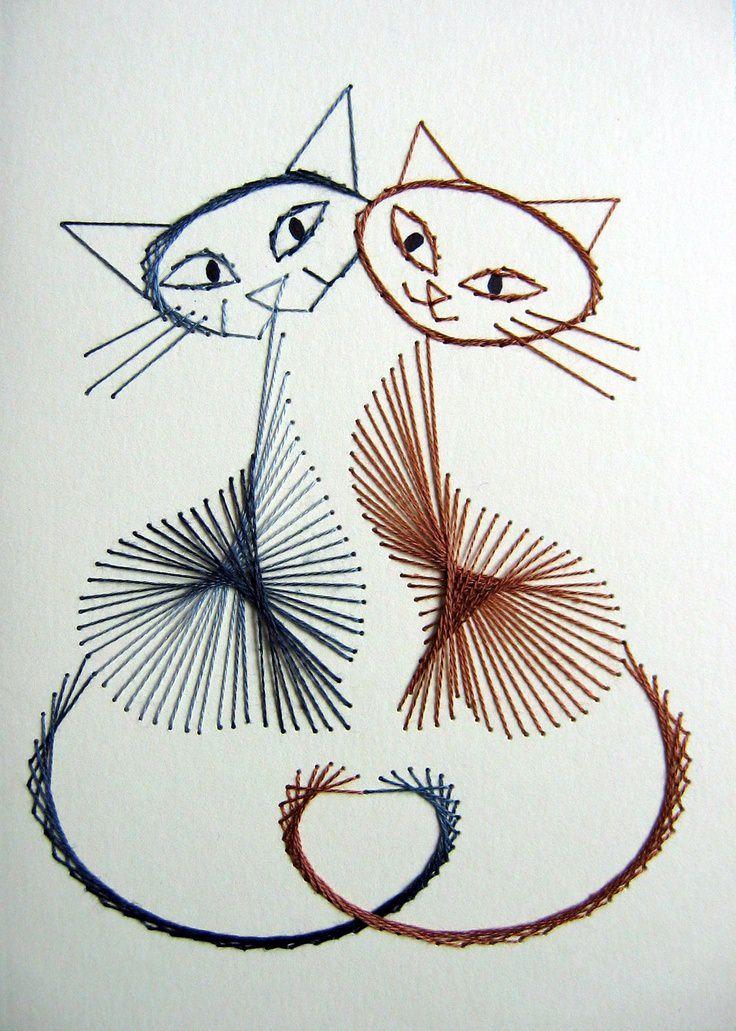 Вышитые коты по картону