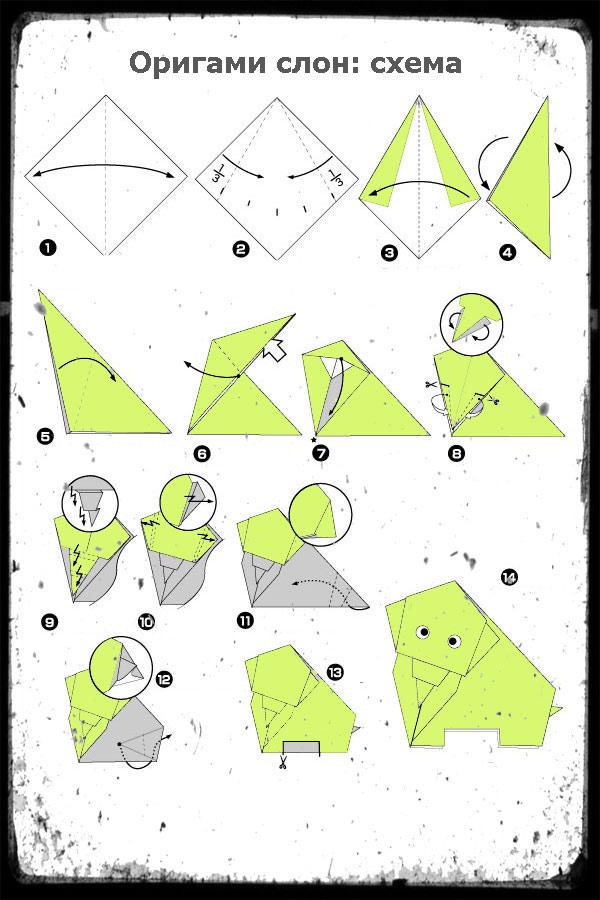Схема оригами слона для детей