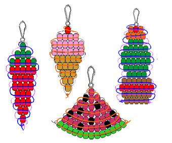 Простые схемы плетения брелков из бисера