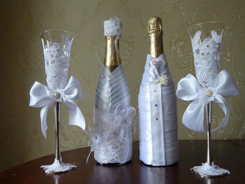 Как сделать на свадьбу украшение бутылку шампанского