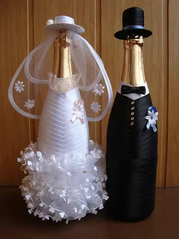 Декорирование бутылок на свадьбу своими руками