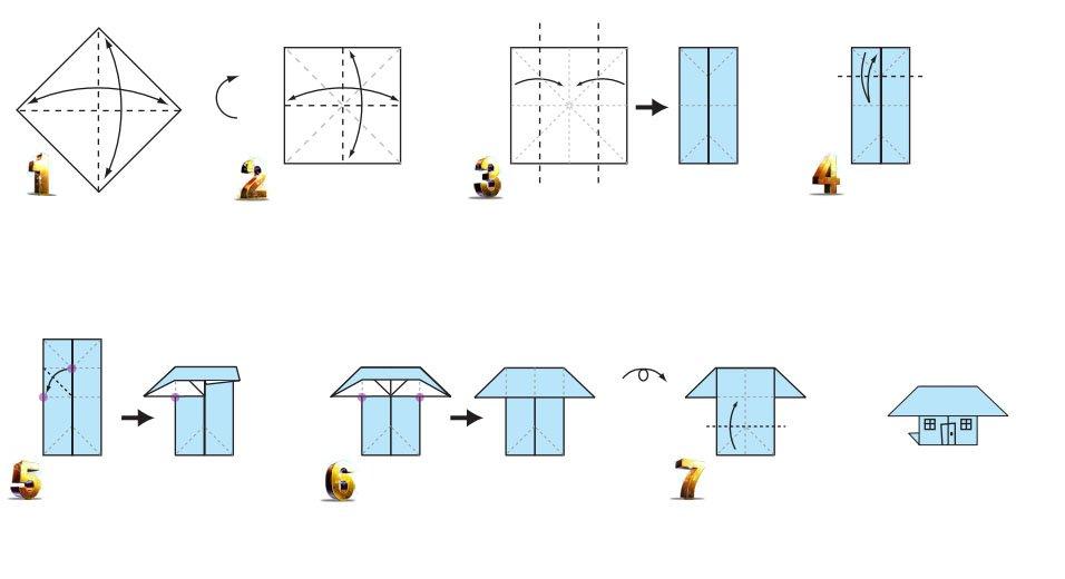 Оригами домика схема сборки