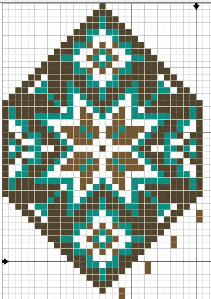 Схема плетения широкой части