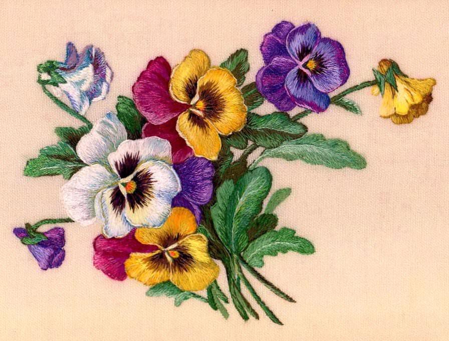 Учимся вышивать цветы гладью