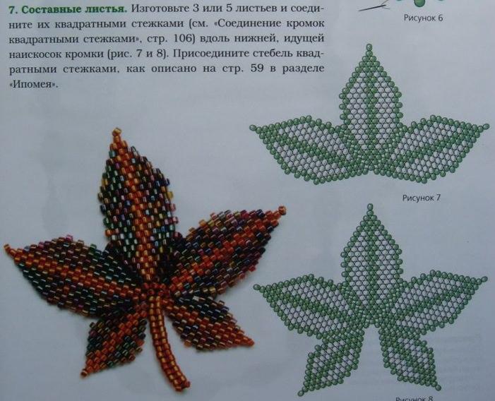 Схема для плетения листка