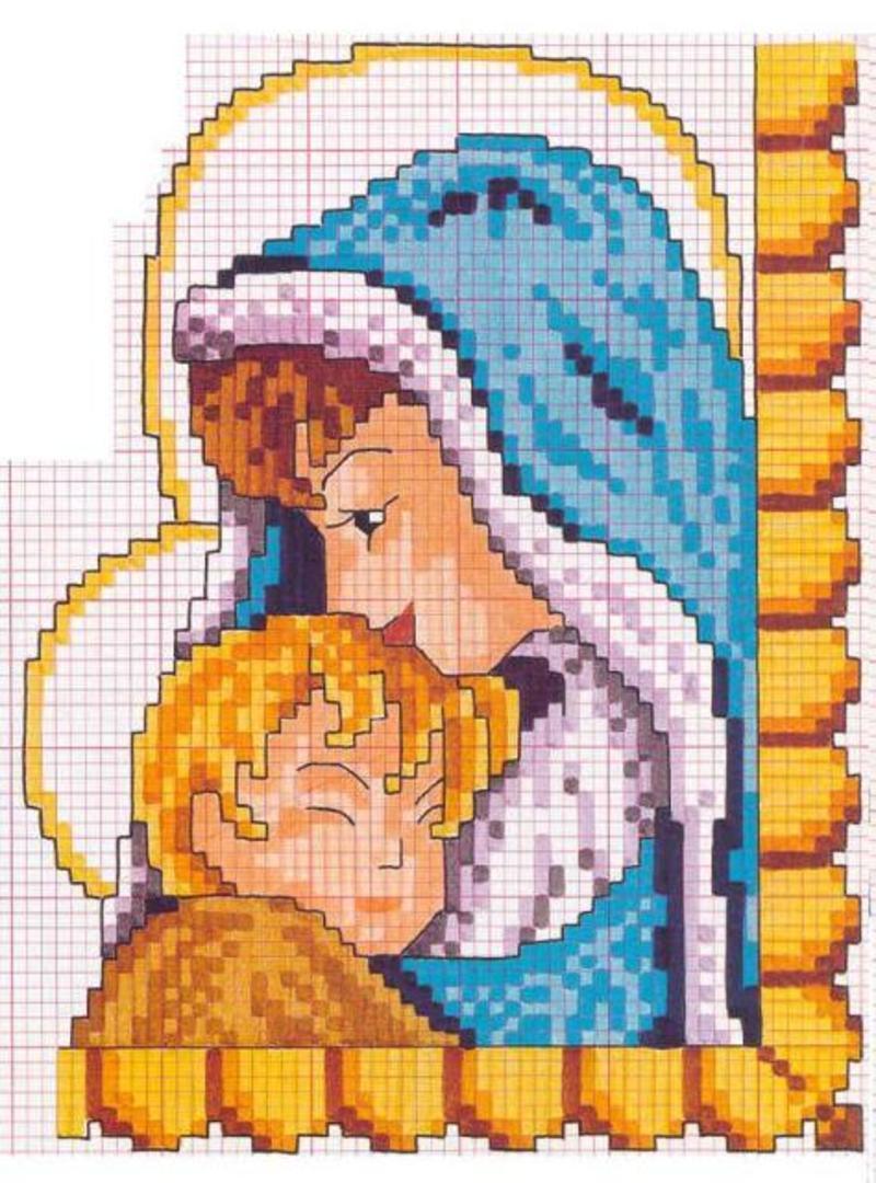 Схема вышивки крестом мадонны с младенцем