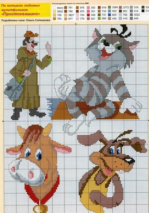Схемы для вышивки крестиком из мультфильмов
