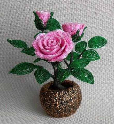 Розы из бисера мастер класс с пошаговым фото для начинающих фото