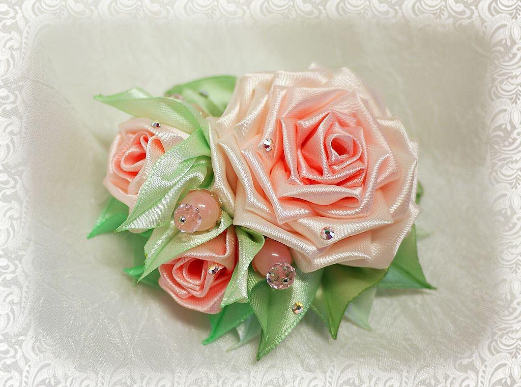 Розы из лент 5 см своими руками мастер класс