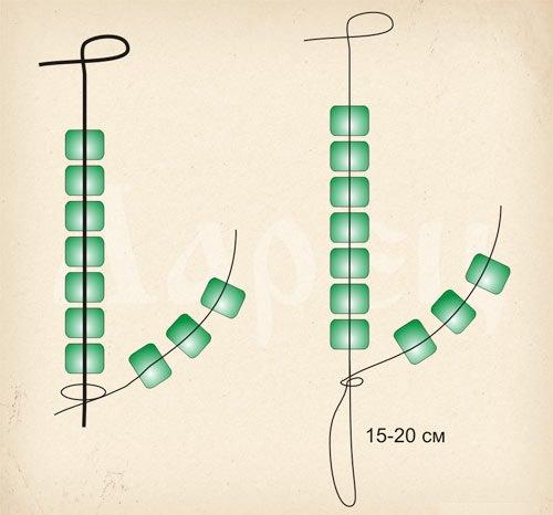 Схема плетения листьев из