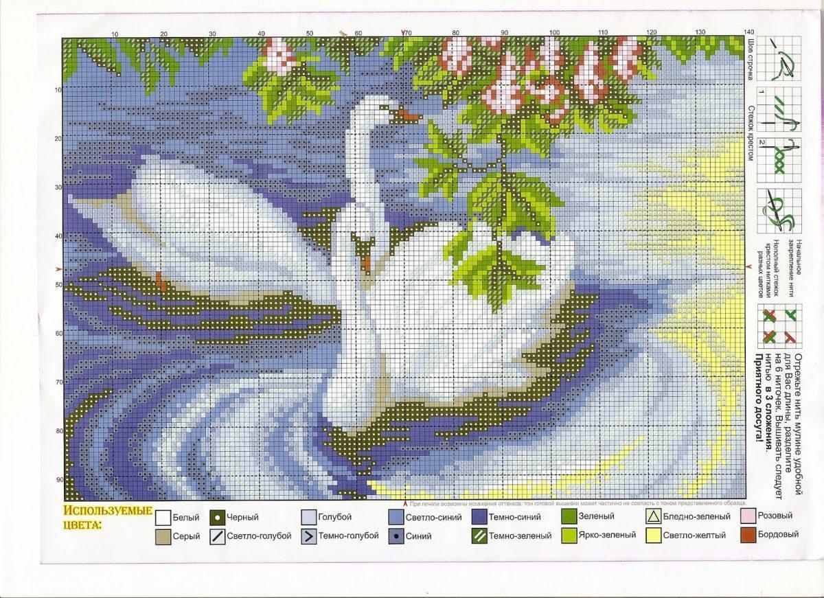 Лебеди вышивки крестом схемы