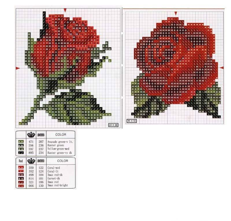 Схема вышивание бисером роза