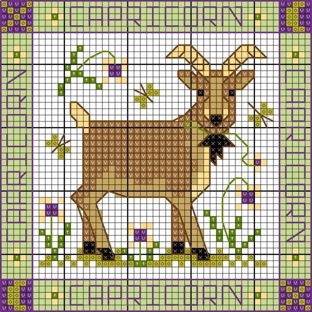 Схема козы. Схема вышивки козы