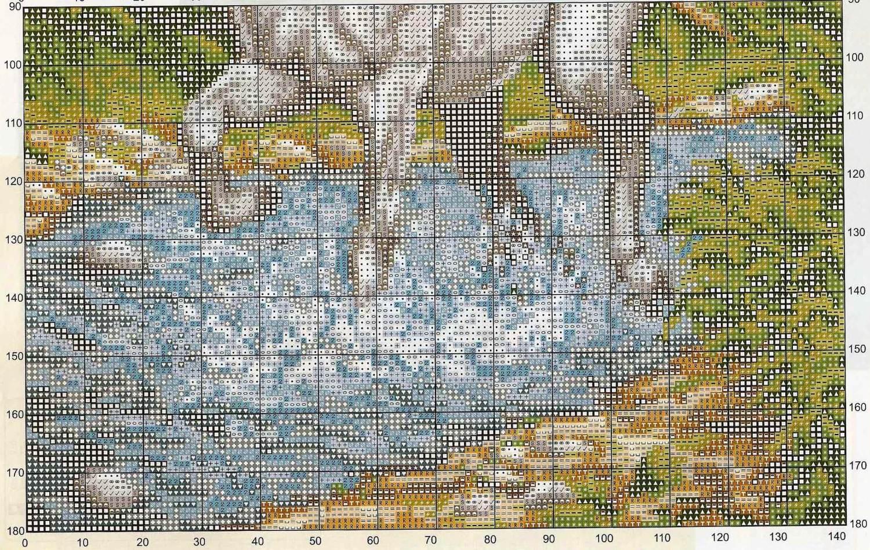 Схема вышивки крестом лошади большого размера 26