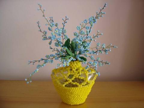 ... : полевые цветы из бисера (фото, схема