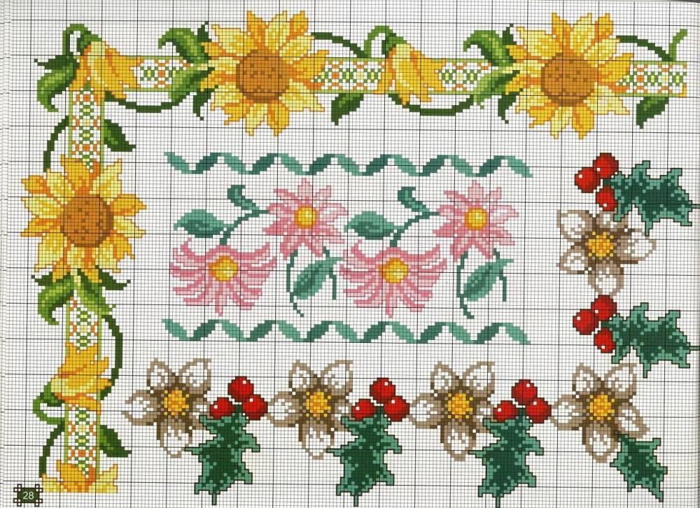 Схемы вышивки цветов крестиком