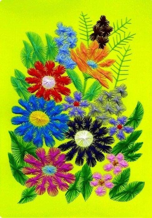 Цветы на картоне