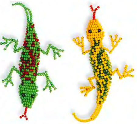 Разноцветные ящерицы из бисера