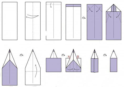 Как сделать из бумаги карандаш схема