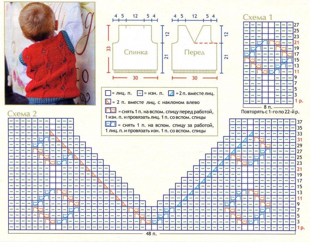 Схемы вязания безрукавок спицами детям до года