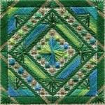 Картина в технике вышивки барджелло