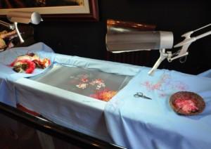 Процесс вышивки шелком