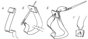 Схема выполнения плоского узелка лентами
