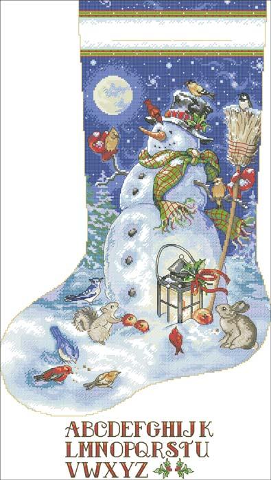 Рождественский носок вышивка крестом схемы