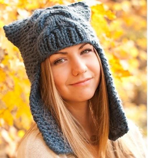 шапка с ушками мастер класс вязания спицами фото и видео