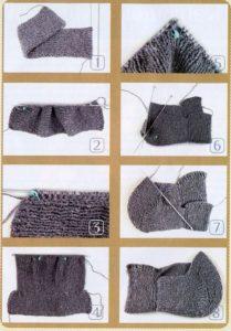 Процесс вязания шапки капюшона