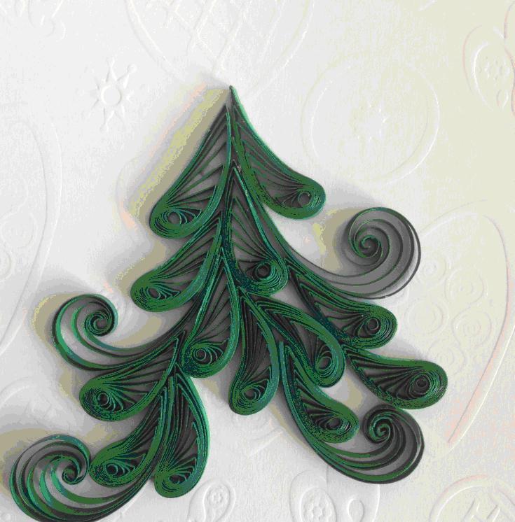 Цветами для, открытка на новый год из квиллинга елка