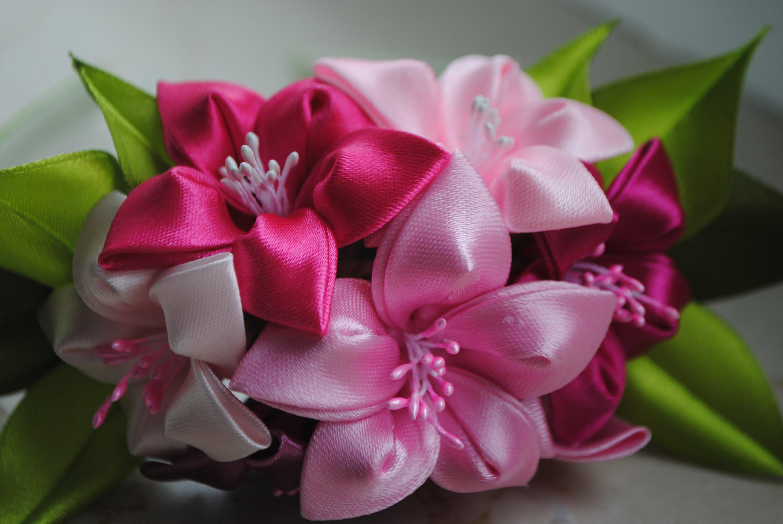 Цветы из ткани своими руками ленты 174