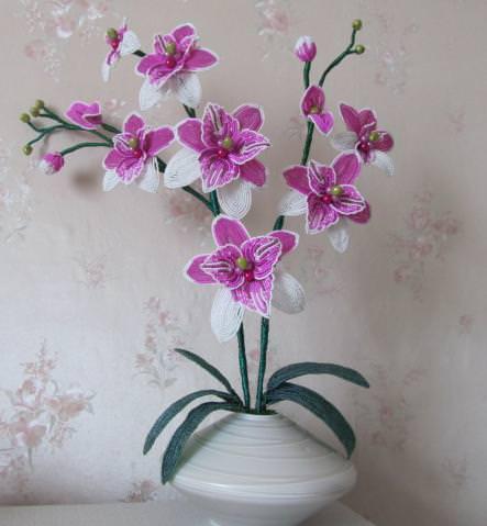 Плетение из бисера орхидеи