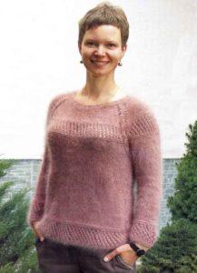 Нежный вязаный ангоровый пуловер