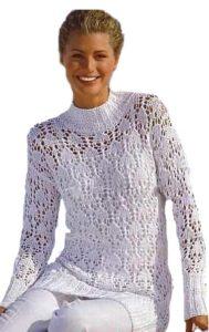 Белый вязаный ажурный пуловер