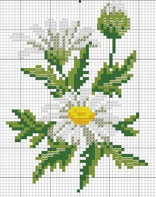 Вышивание крестиком схема ромашки