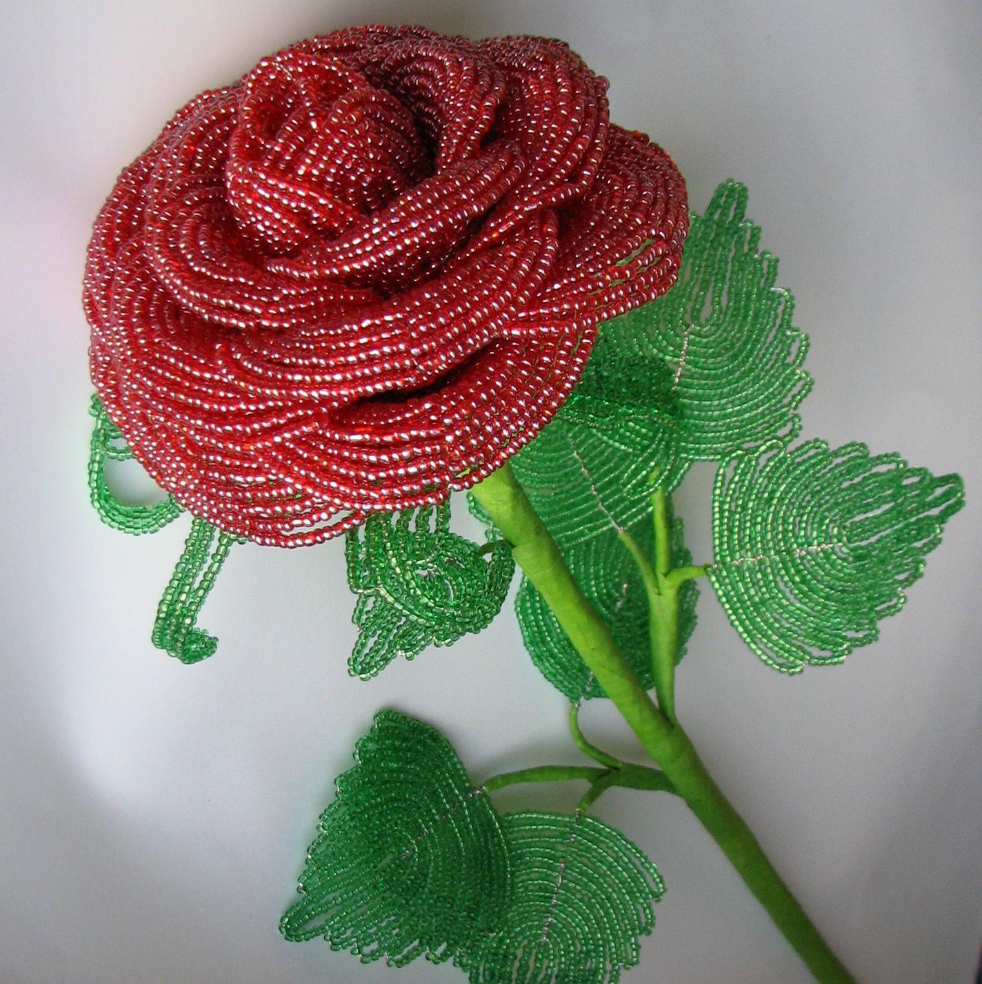 Цветы из бисера своими руками пошагово фото 682
