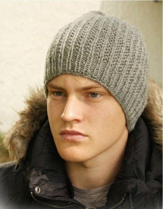 Схема вязания мужской шапки спицами фото 562