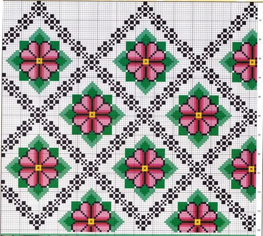 схема украинской вышивки крестом орнамент голуби