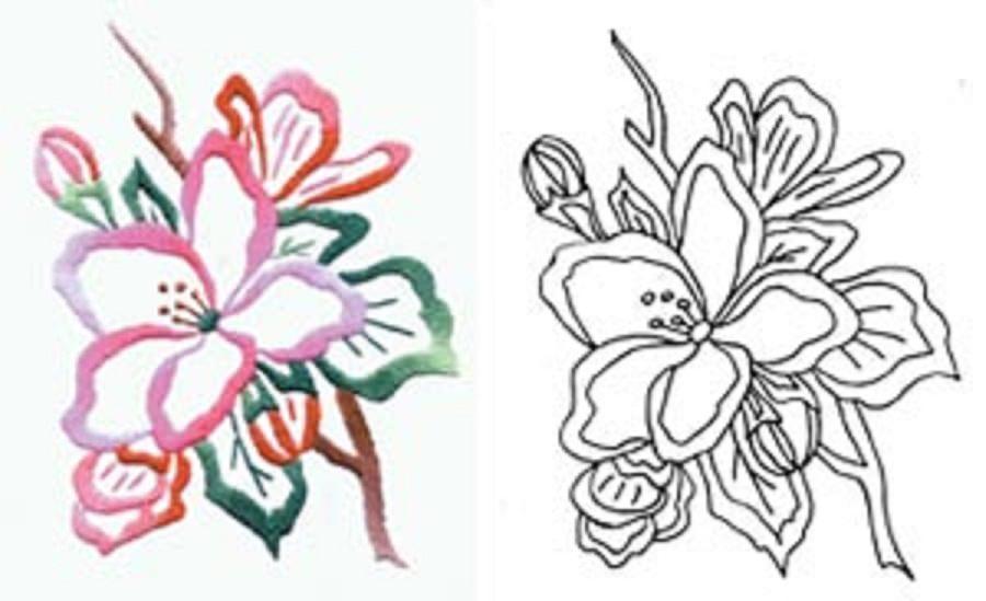 Вышивка гладью цветы шаблоны
