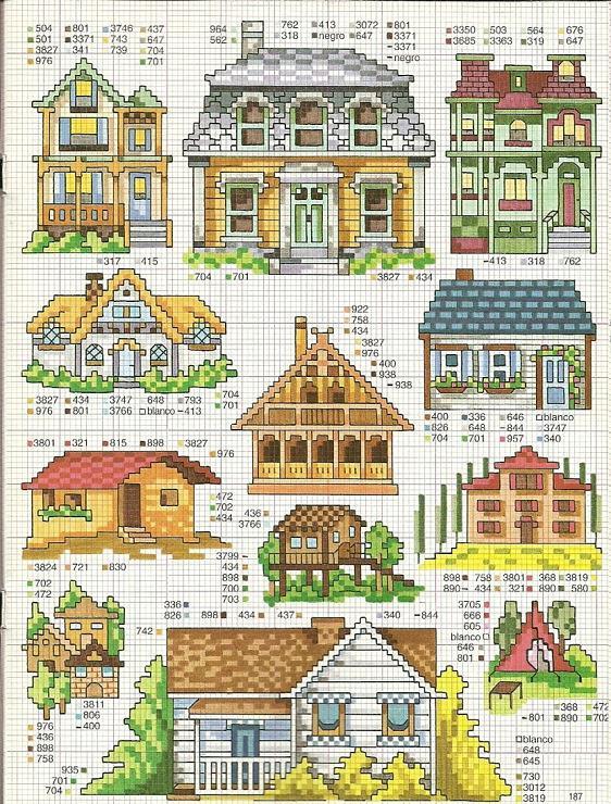Схемы вышивки маленькие домики