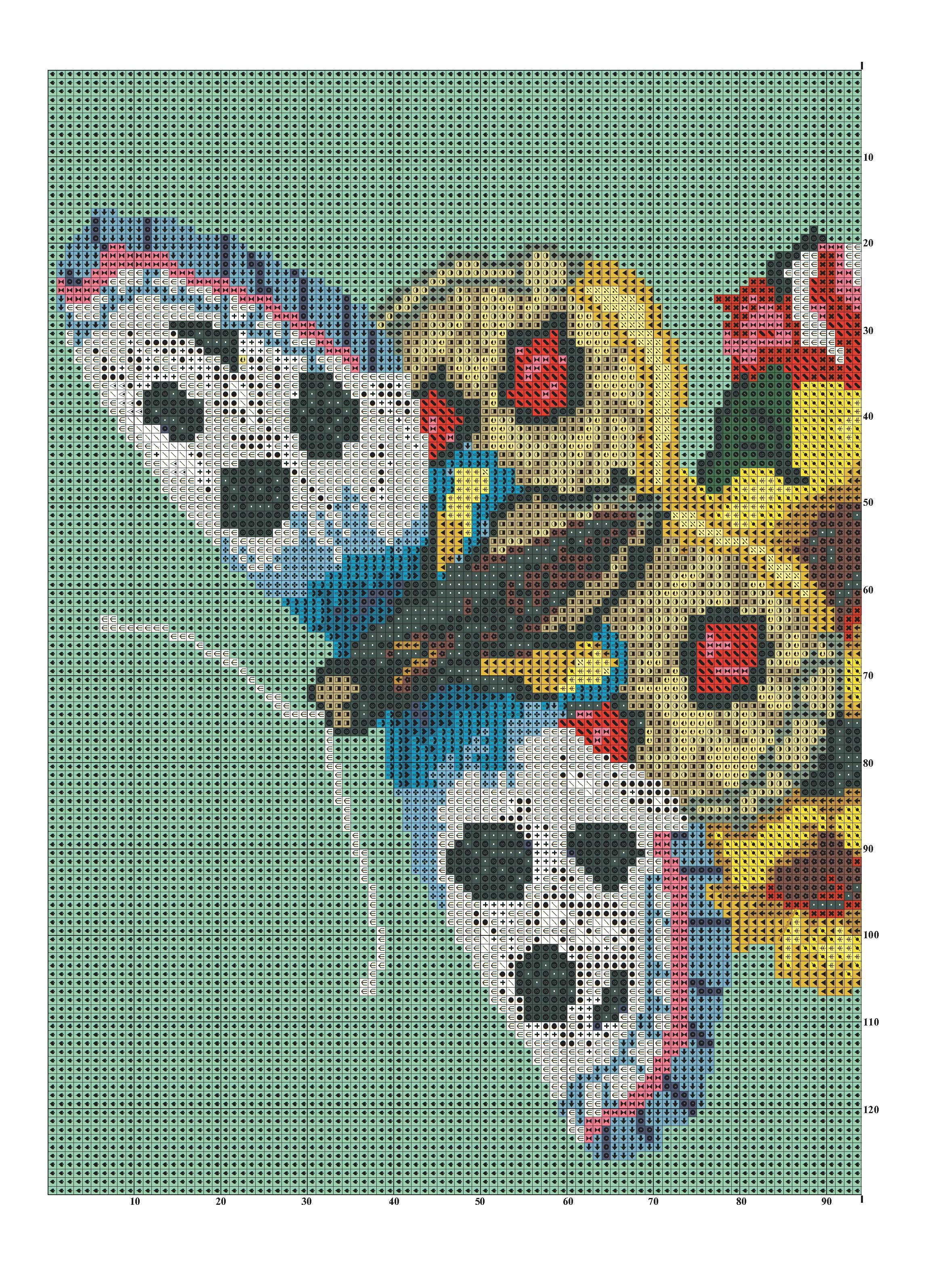бабочки в цветах схема вышивки