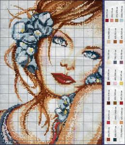 Схема портрета с цветами
