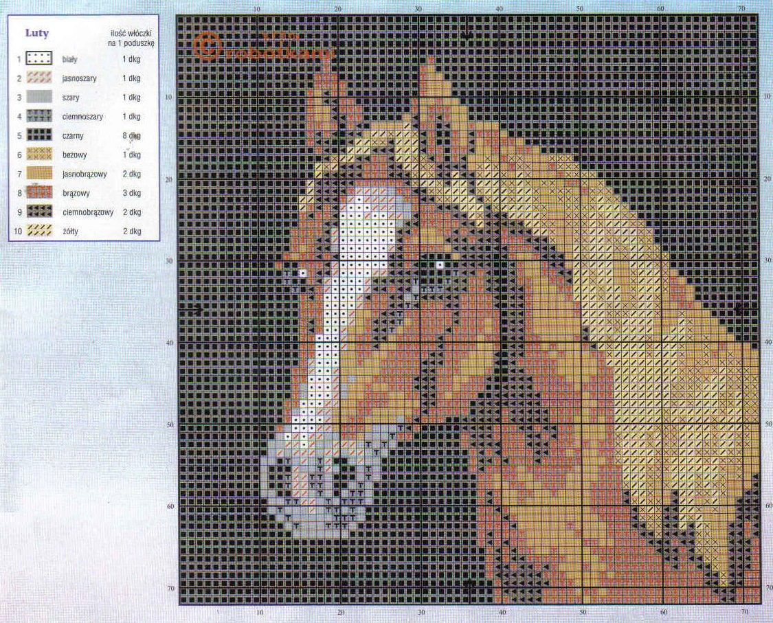 Вышивка схема лошадей