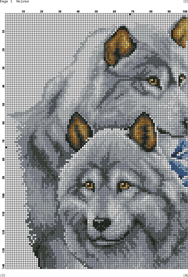 Рисунок для вышивки волка